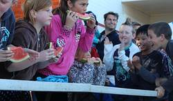 Adaminaby Easter Fair watermelon eating competition