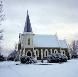 Adaminaby church in the snow