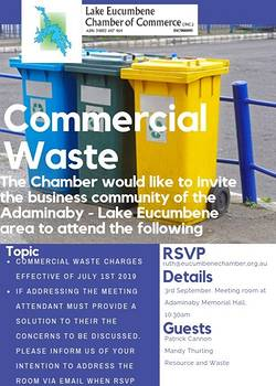 commercial waste meeting in Adaminaby, September 3